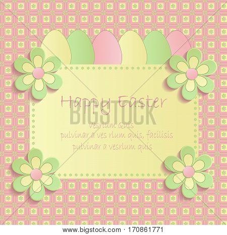 Happy easter flowers eeg spring 3D pink vector