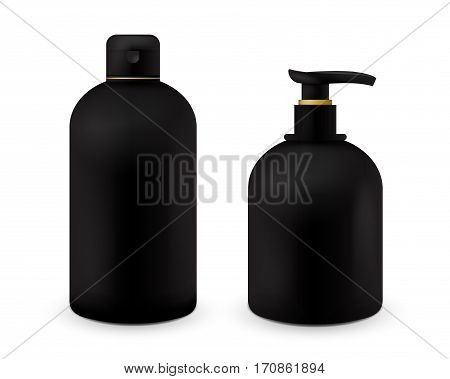 Realistic cosmetic bottle mock up set isolated pack on white background. Cosmetic brand template. Shampoo and soap pack. Black color