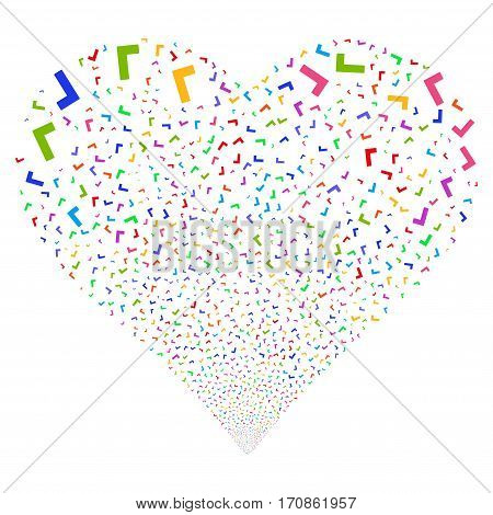 Yes fireworks with heart shape. Vector illustration style is flat bright multicolored iconic symbols on a white background. Object love heart organized from scattered icons.