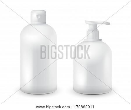 Realistic cosmetic bottle mock up set isolated pack on white background. Cosmetic brand template. Shampoo and soap pack