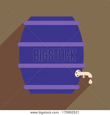 Flat web icon with long shadow keg of beer