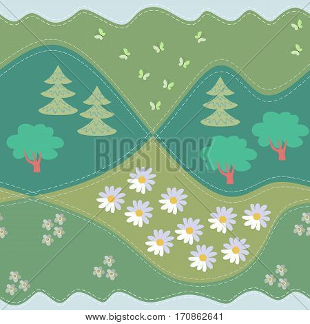 Summer seamless pattern. Print for fabric. Vector illustration. Woodland.