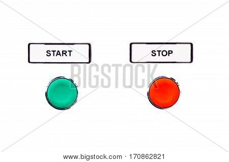 Simple round buttons green start beside red stop button. Beginning and ending of a simple scheduling or time process. Begin and end are beside counterparts and isolated on white background.