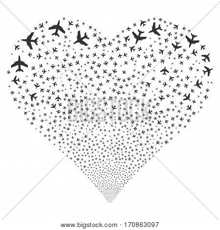 Jet Plane fireworks with heart shape. Vector illustration style is flat gray iconic symbols on a white background. Object love heart created from random symbols.