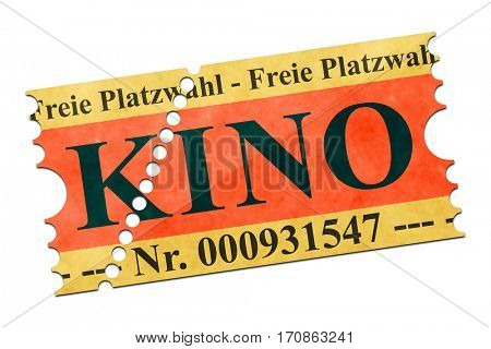 2d illustration of a movie ticket german language