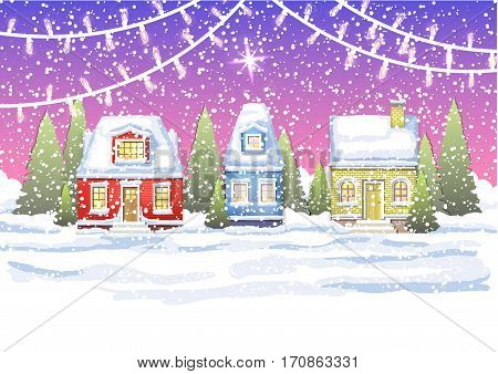 three small house in a village near the winter forest. Winter card with houses and Christmas garland. winter card Happy New Year