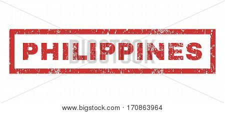 Philippines text rubber seal stamp watermark. Tag inside rectangular shape with grunge design and unclean texture. Horizontal vector red ink sticker on a white background.