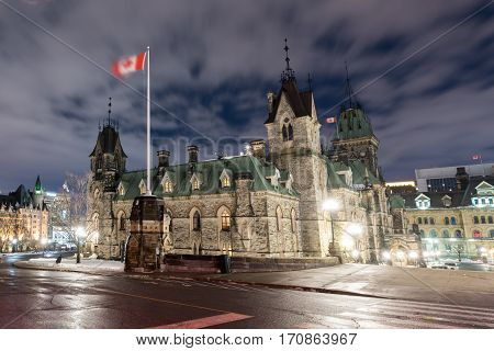 Ottawa, Canada - December 25, 2016: Parliament Hill and the Canadian House of Parliament in Ottawa Canada during wintertime at night.