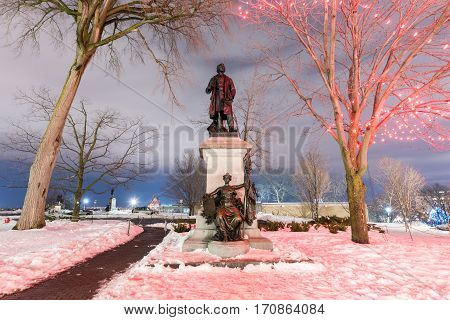 Ottawa, Canada - December 25, 2016: Monument to Canada's first Prime Minister and one of the Fathers of Confederation Sir John A Macdonald.