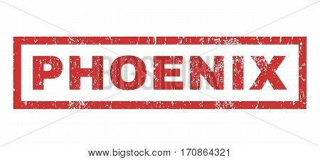 Phoenix text rubber seal stamp watermark. Caption inside rectangular shape with grunge design and scratched texture. Horizontal vector red ink sign on a white background.