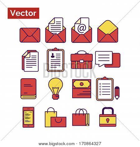 Red icons stylish, flat style minimalistic icon set