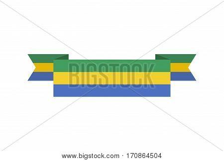 Gabon Flag Ribbon Isolated. Gabonese Republic Tape Banner. State Patriotic Sign