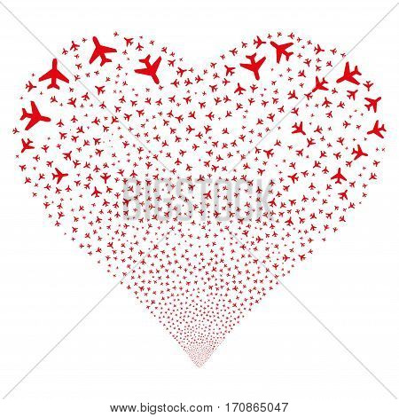 Air Plane fireworks with heart shape. Vector illustration style is flat red iconic symbols on a white background. Object valentine heart constructed from confetti design elements.