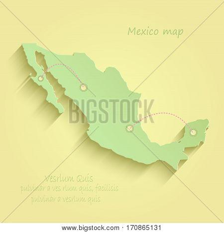 Mexico map yellow green vector template mexicano