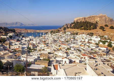 Panorama of Lindos and the Acropolis. Rhodes Island. Greece