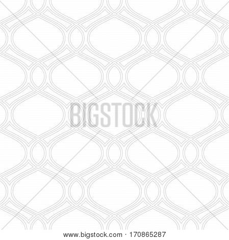 Seamless vector ornament. Modern background. Geometric pattern with repeating wavy silver lines