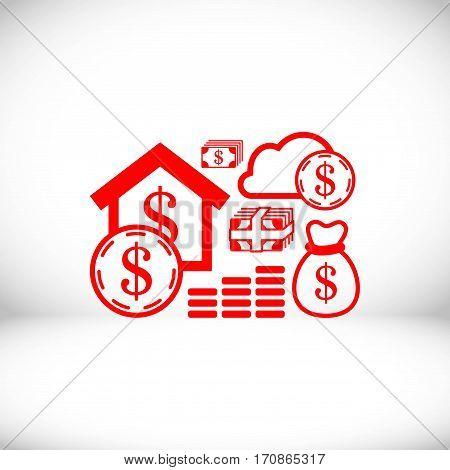 dollar money set icon stock vector illustration flat design