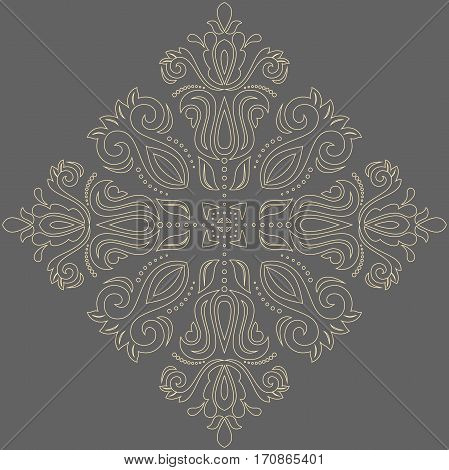 Oriental vector pattern with golden arabesques and floral elements. Traditional classic ornament. Vintage pattern with arabesques