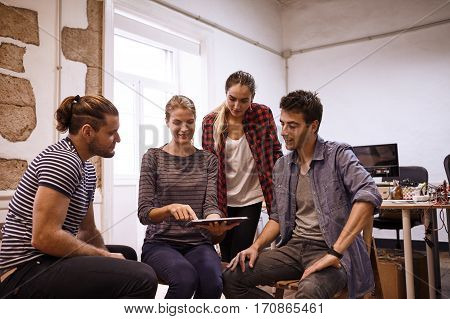 Young Business Team In A Semi Circle