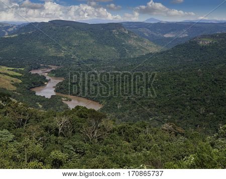 Tibagi River forest woods mountains hills horizon clouds