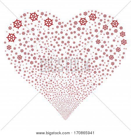 Boat Steering Wheel fireworks with heart shape. Vector illustration style is flat red iconic symbols on a white background. Object valentine heart done from scattered pictograms.