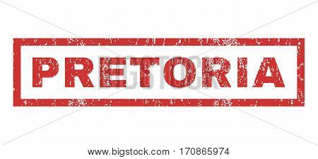 Pretoria text rubber seal stamp watermark. Caption inside rectangular banner with grunge design and unclean texture. Horizontal vector red ink emblem on a white background.