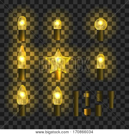 Set of yellow shining garland lights with holders isolated on transparent background. Christmas, New Year party decoration realistic design elements. Glowing lights for Xmas. Holiday greeting design.