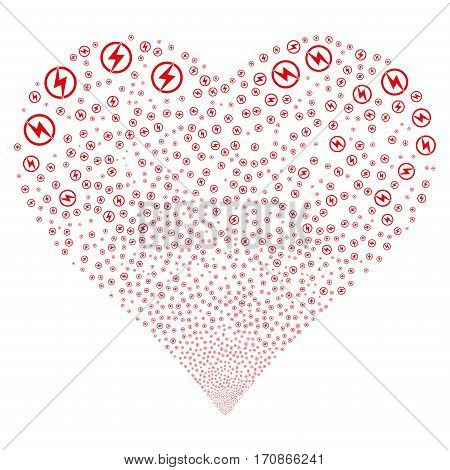 Electric Power fireworks with heart shape. Vector illustration style is flat red iconic symbols on a white background. Object salute done from scattered pictographs.