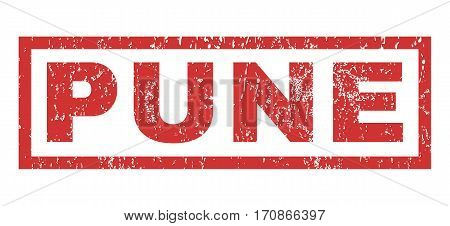 Pune text rubber seal stamp watermark. Tag inside rectangular shape with grunge design and unclean texture. Horizontal vector red ink sticker on a white background.