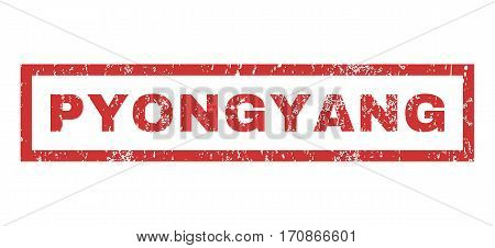 Pyongyang text rubber seal stamp watermark. Caption inside rectangular shape with grunge design and unclean texture. Horizontal vector red ink sticker on a white background.