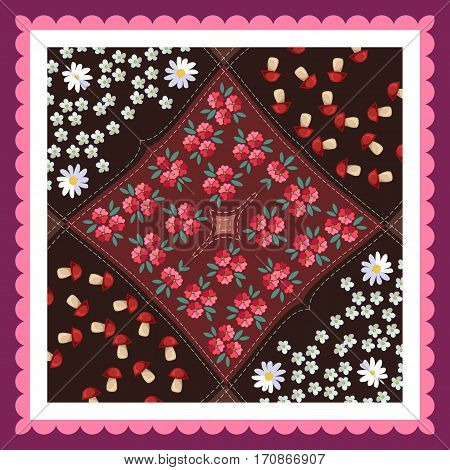 Lovely tablecloth with mushrooms poppy daisies yarrow and pink frame. Vector illustration.