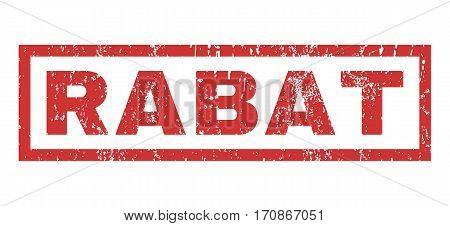 Rabat text rubber seal stamp watermark. Caption inside rectangular shape with grunge design and dirty texture. Horizontal vector red ink sign on a white background.