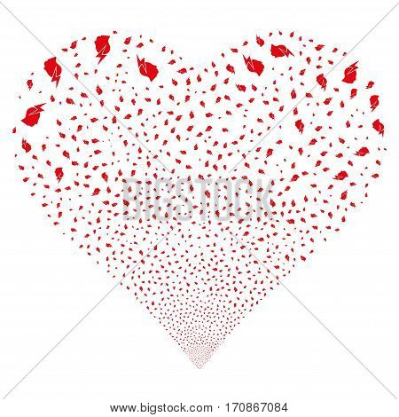 Person Stress Strike fireworks with heart shape. Vector illustration style is flat red iconic symbols on a white background. Object heart organized from scattered icons.