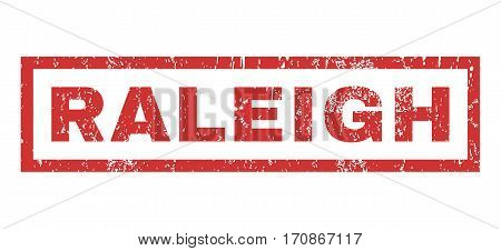 Raleigh text rubber seal stamp watermark. Caption inside rectangular banner with grunge design and dust texture. Horizontal vector red ink sticker on a white background.