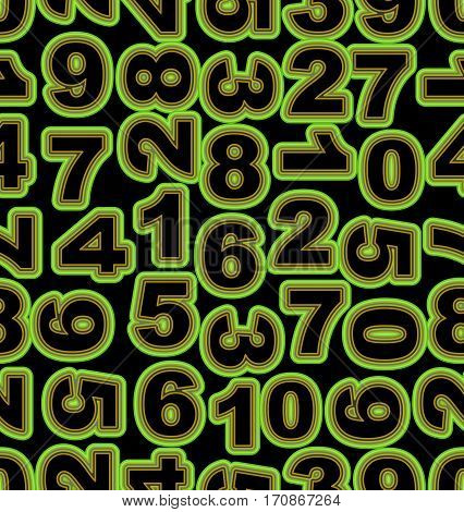 Neon number in green on black background. Seamless vector tile bold font cipher. Vector EPS10