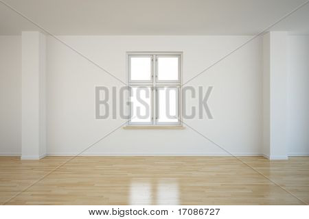 3d rendering of an empty room with a closed window