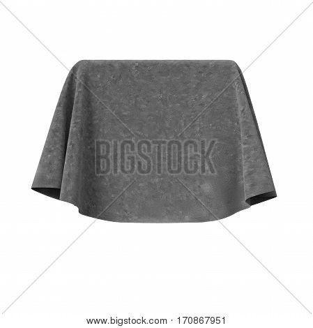 Box covered with grey velvet fabric. Isolated on white background. Surprise, award, prize, presentation concept. Reveal hidden object. Raise the curtain. Photo realistic illustration. 3D illustration