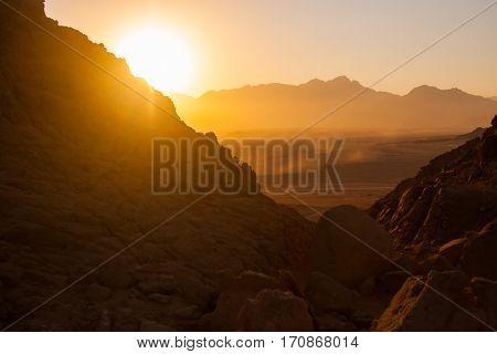 Deserts and Sand Dunes Landscape at Sunset.