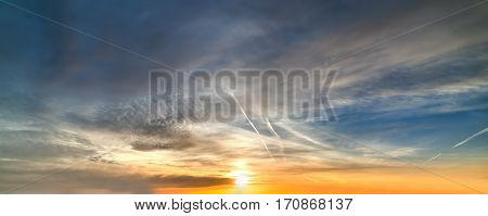 cloudy sky at sunset in Sardinia Italy