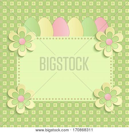 Happy easter flowers eeg spring 3D green raster