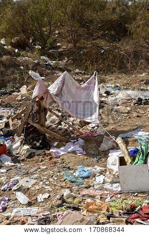 MAZATLAN, MEXICO, January 30, 2017: A shelter, home, and residence of a dump dweller in a city landfill in Mazatlan, Mexico