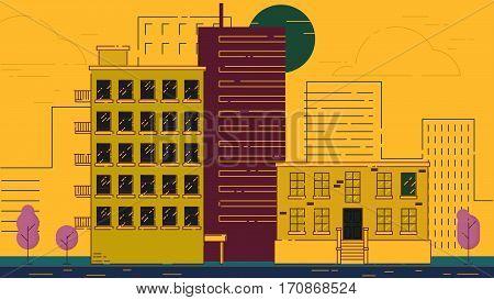 City Street stroke style vector illustration skyskrapers violet palette