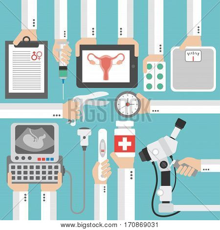 Medical gynecology and pregnancy flat design.Vector illustration