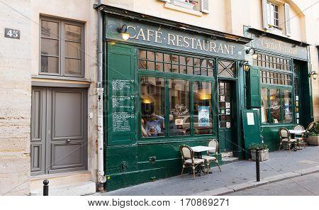 PARIS FRANCE - December 06 2016: The famous French cafe restaurant Gaudeamus located in Latin Quarter Paris France.