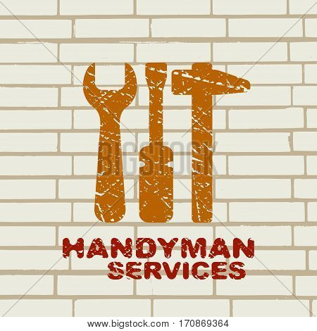 Handyman labels. Tools silhouettes. Home, house repair vector logo. Template design element for business related to handyman service, home and house remodeling