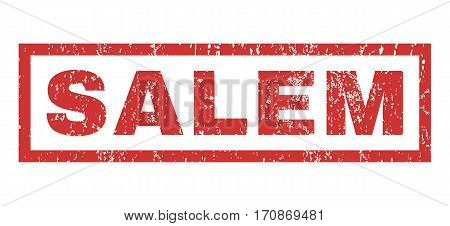 Salem text rubber seal stamp watermark. Caption inside rectangular shape with grunge design and scratched texture. Horizontal vector red ink emblem on a white background.