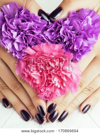 manicure pedicure with flower close up isolated on white perfect shape hands spa salon, modern dark mani pedi concept poster