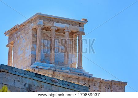 Beautiful temple of Athena Nike on the Acropolis in Athens, Greece