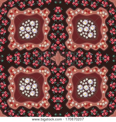 Russian seamless pattern with poppy mushrooms daisy and yarrow. Scarf.