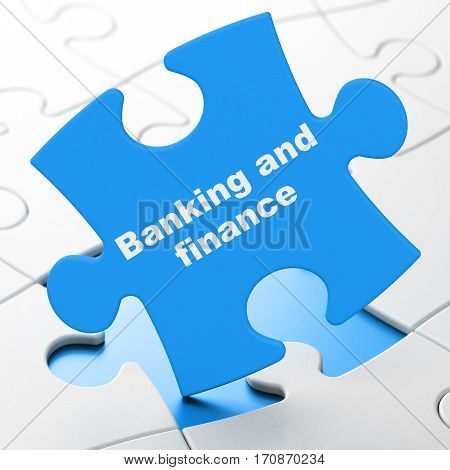Money concept: Banking And Finance on Blue puzzle pieces background, 3D rendering